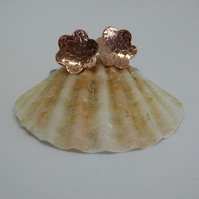 Flower Stud Earrings - Copper & Silver
