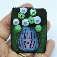 Flowers in Vase Brooch - Enamel on Copper