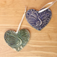Peacock heart ornament - Blue hanging heart with peafowl, 1LL