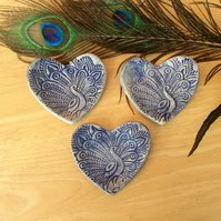 Blue Peacock ring holder - Heart Trinket dish - Ceramic tealight holder - 2not