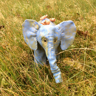 Blue baby elephant sculpture with orange birds, Pottery elephant, blue decor, 6t