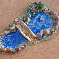 Ceramic pond with bridge, Terrarium ornament, stoneware art with glass, 4t