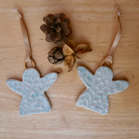 Angel hanging ornament set of 2 - Aqua ceramic hanging angels - 2not