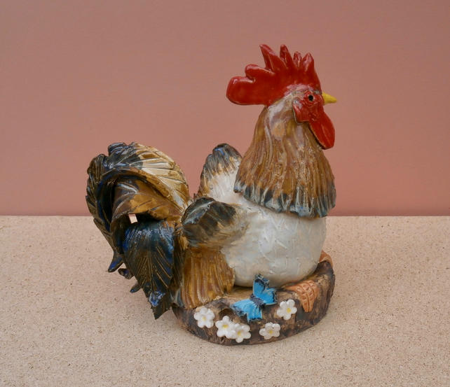Ceramic rooster sculpture with butterfly, Blue and brown cockerel sculpture, 6t