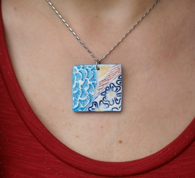 Square pendant with flowers on stainless steel chain, Doodles pendant, 1LL