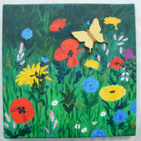 Wild flowers acrylic painting - Painting on cavas with poppies, daisies, 5t