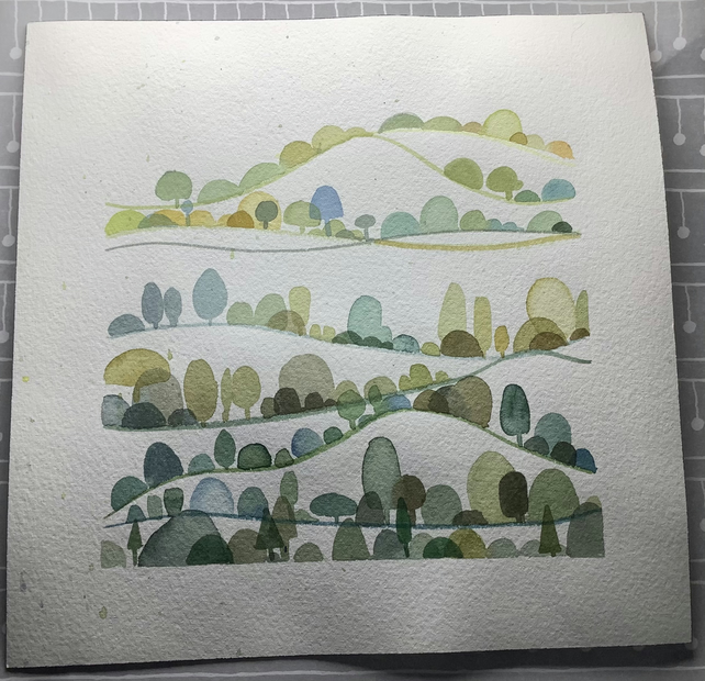 Original semi abstract little water colour painting with a Yorkshire hillside