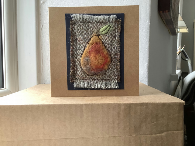 Original handmade greeting card with a needle felted pear. Blank. Valentine card