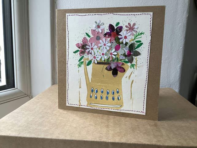 Original hand printed and collaged card with spring flowers in a jug. Blank .
