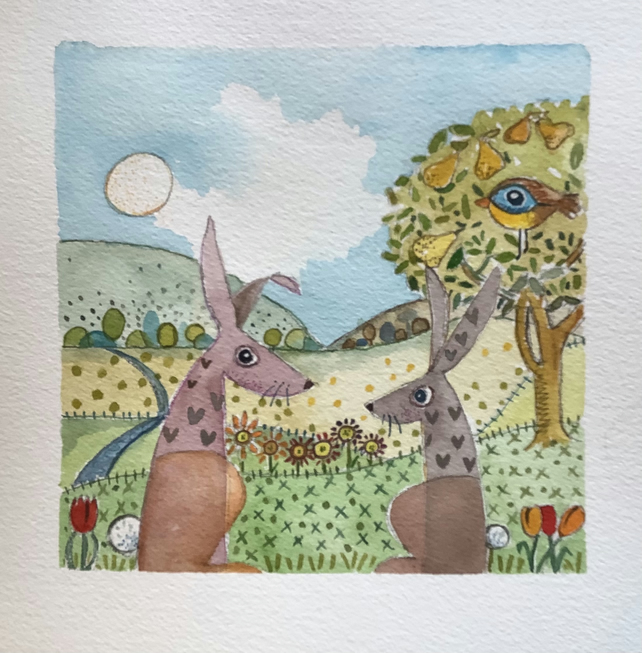 Original water colour with spring hares. Stylised and  highly decorative .