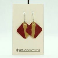 Red & Gold Enamel Earrings. Square Shape. Contemporary Abstract Earrings