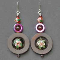 Ringed Cloisonne Earrings.