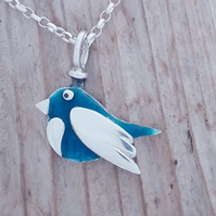 Enamelled Bird Pendant