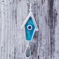 Enamelled Birdhouse Pendant with pale Blue Tourmaline