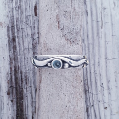Delicate Wave ring with Topaz size L-S