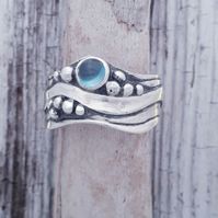 Broad Wave ring with Blue Topaz  L-T