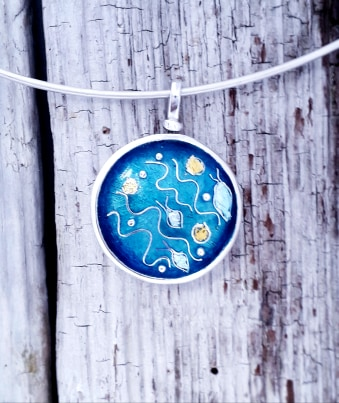 Enamelled Abstract Seascape Pendant