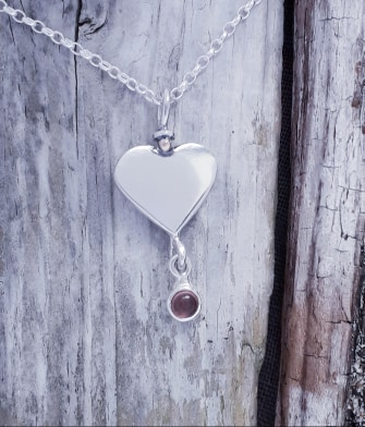 Sterling Silver Heart Pendant with Pink Tourmaline