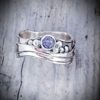 Medium Wave Ring with Tanzanite Size O and a half
