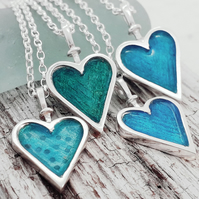 Enamelled Heart Pendant - Green