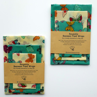 Set of 3 Reusable Beeswax Wraps. Large, Medium and Small.  Postage Free