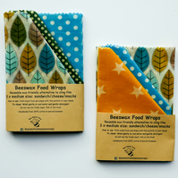 "Three Medium Reusable Natural Beeswax Food Wraps. 13"" x12"" Postage Free"