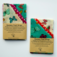 "Three Medium Reusable Beeswax Food Wraps. Butterfly design. 13""x12"" Postage free"