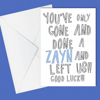 Funny leaving card, farewell card, Retirement, One Direction