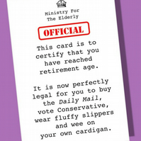 Funny age card, Retirement card, Old age card