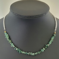 Sakota emerald nugget extendable chain necklace
