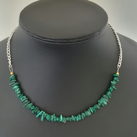 Malachite nugget extendable chain necklace