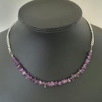 CLEARANCE - Zambian amethyst nugget adjustable necklace