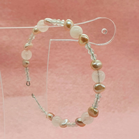 Rose quartz, white topaz and freshwater pearl memory wire bracelet
