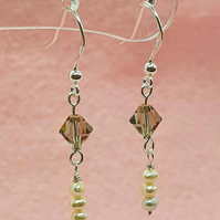 Sterling silver swarovski and freshwater pearl earrings