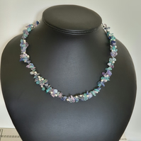 Multi gemstone illusion style layered necklace
