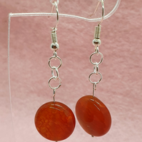 Chunky orange agate drop earrings