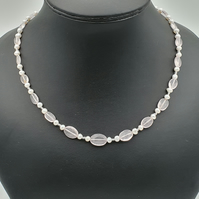 Rose quartz and freshwater pearl necklace with sterling silver