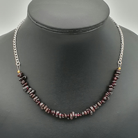 Garnet and silver plated chain extendable necklace