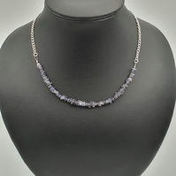 Iolite and silver plated chain extendable necklace
