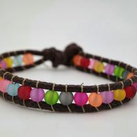 Rainbow frosted bead and cord bracelet (child size)
