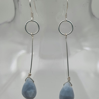 Blue opal and sterling silver drop earrings
