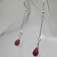 Ruby and sterling silver drop earrings