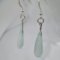 Sea blue chalcedony and sterling silver drop earrings