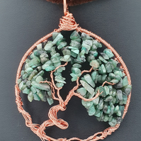 Emerald and copper wire tree of life hanging decoration or light catcher