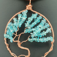 Blue apatite and copper wire tree of life hanging decoration or light catcher