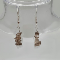 Smokey quartz nugget drop earrings