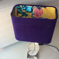 Purple velvet rectangular shade with iguana print interior