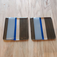 Pale Powder Blue, Clear and Transparent Grey and Blue Striped Glass Coaster