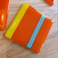 Striped Glass Coaster - Orange, Yellow and Blue - Bright Funky Colours!