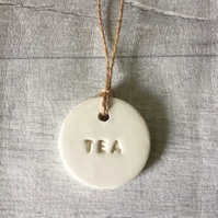 Handmade ceramic tea tag. Tea storage jar label. TEA OPTION.